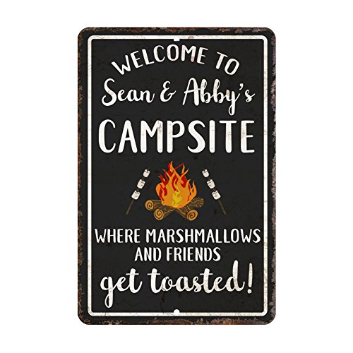 Personalized Welcome to the Campsite Where Marshmallows and Friends Get Toasted Metal Room Sign