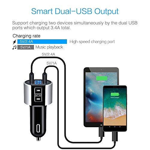 Car charger, BliGli Bluetooth FM Transmitter, BT Receiver with Microphone, Hands -free Calling, 3.4A Dual USB Ports for iPhone,Samsung and Android,Supports Call Number Announcement,Last Call Redial by Bligli (Image #4)