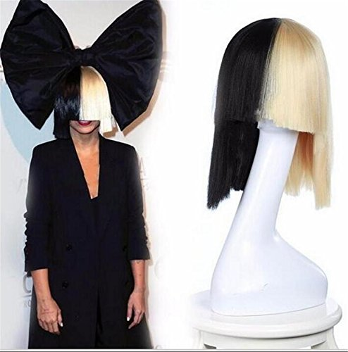 Half Man Half Woman Costume Pictures (ATOZWIG Half Black and Blonde Short Costume Cosplay Wigs Cover Nose Halloween Hair for Women Neat Bang)