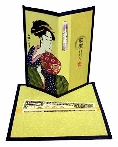 Set of 2 Japanese Rice Paper Wallet or Checkbook Cover Lady with Fan Design Decorative Gift Box Included (Dollar Bill Gift Box)