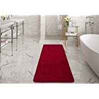 Ottomanson Luxury Collection Solid Runner Rug with Non-Slip/Rubber-Backing Bath Rug, 20' X 59', Red