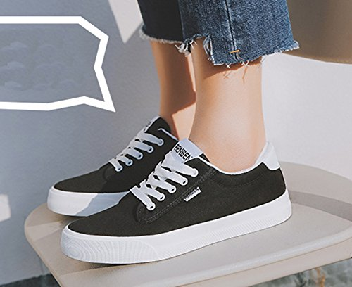 Flat Aisun Up Black Canvas Round Simple Shoes Tops Lace Platform Sneakers Toe Low Womens Casual 6xv8rna6