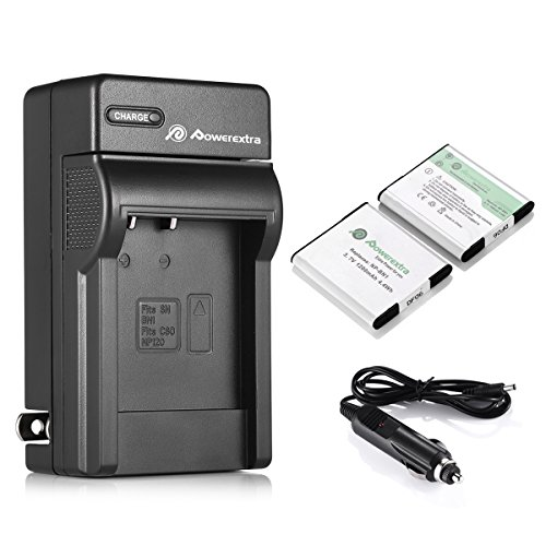 Powerextra 2 PCS NP-BN1 Battery and Charger Replacement for Sony Cyber-Shot DSC-QX10 QX30 QX100 T99 T110 TF1 TX10 TX20 TX30 TX55 TX66 TX100V TX200V W310 W320 W330 W350 W530 W515PS - Digital 1 Camera Charger Battery