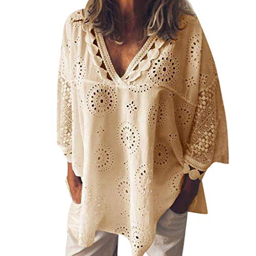 Patch Yellow T-shirt - Women 3/4 Sleeve V Neck Hollow Out Floral Print Shirt Tops Long Blouse Tee Lace Patchwork T-Shirt Yellow