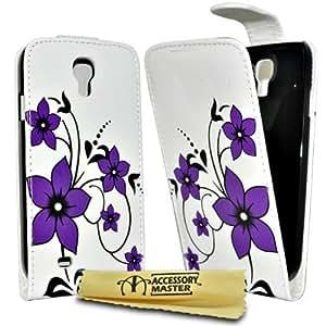 Accessory Master - Juego de funda de piel, protector de pantalla y lápiz capacitivo para Samsung Galaxy S4, diseño de flores y mariposas