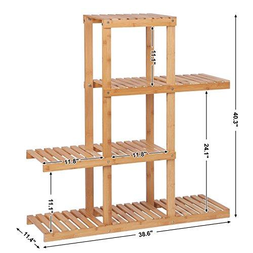 SONGMICS Bamboo Wood Plant Display Rack,Stand Shelf,Flower Pots Holder, 4 Tier Utility Shelving Standing Unit Storage Organizer Rack for Living Room Balcony Hallway Bathroom UBCB91N
