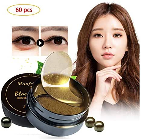 Korean 60 psc Black Gold Pearl Collagen Eye Patch | Anti Wrinkle Eye Mask Gel Sleep Mask Dark Circles Under Eye Bags Treatment | All-Natural Eye Care Gel for Women and Men eye-pad