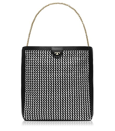 Tory Burch Erica Woven Leather Large Hobo, Black / White - Black And Bag Tory Burch White