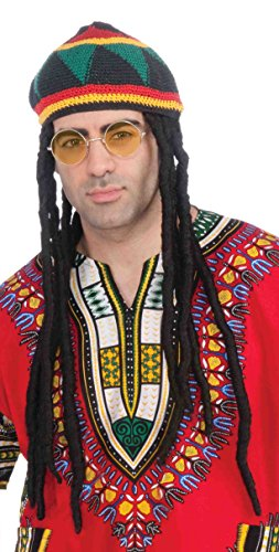 Forum Novelties Men's Novelty Rasta Hat with Hair and Glasses, Multi, One Size
