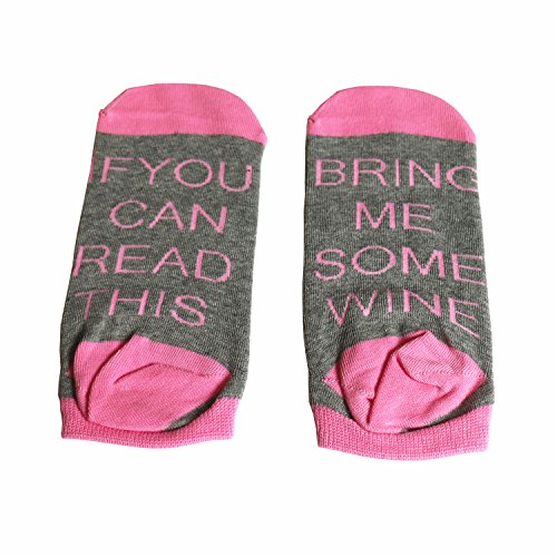 SurBepo If You Can Read This Bring Me Some Wine Coffee Beer Gift Socks Funny Saying Knitting Word Combed Cotton Crew Socks for Men Women Pink Grey