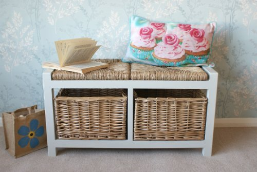 Gloucester 2 Seater Storage Bench in Light Stone finish with 2 x Wicker Rattan Basket Drawers, Cabinet Farmhouse