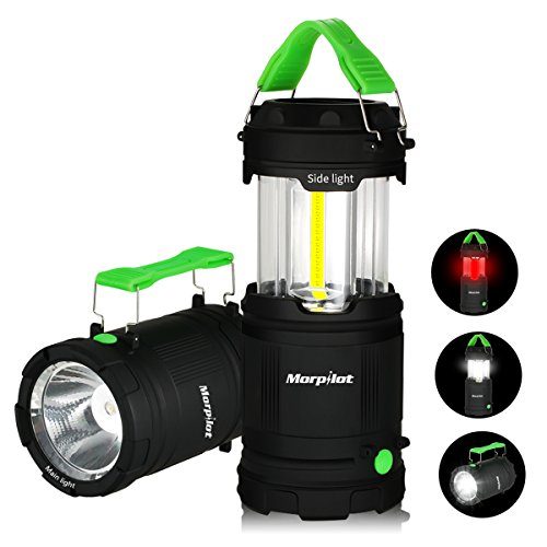 Morpilot LED Camping Lantern Outdoor Portable 300lumens COB Light 7 Modes Battery Powered with Fluorescent Handles for Hiking, Emergencies, Hurricanes, Outages, Storms, Car repair