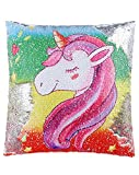 ANKIT Mermaid Unicorn Sequin Pillow Reversible Pillow That Changes Color - Pink Rainbow Unicorn