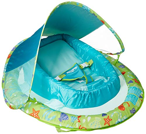 SwimWays Infant Baby Spring Float with Adjustable Sun Canopy - Green ()