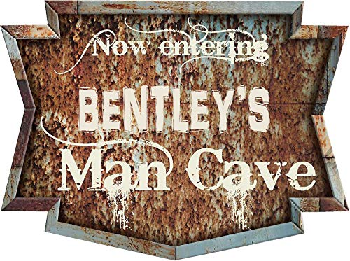 (Any and All Graphics BENTLEY'S Mancave Rusty Rustic Weathered Vintage Metal Look 9