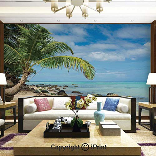 - Lionpapa_mural Removable Wall Mural Ideal to Decorate Bedroom,or Office,Romantic Beach Tranquil Scene Palm Trees Caribbean Island Nature Photography,Home Decor - 66x96 inches