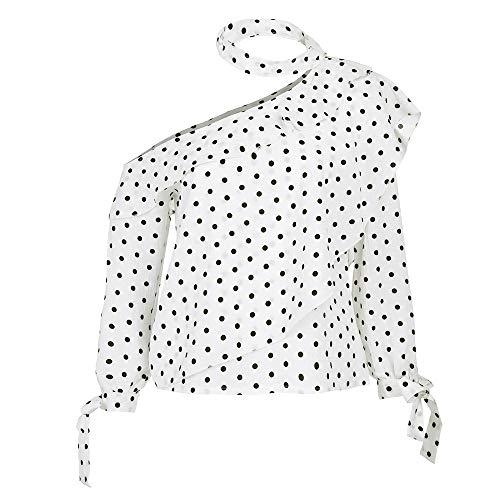 Belted Terry Belt - UONQD Women Blouse One Shoulder Polka Dot Tops Lantern Sleeve Chiffon Bow Shirt (Medium,White)