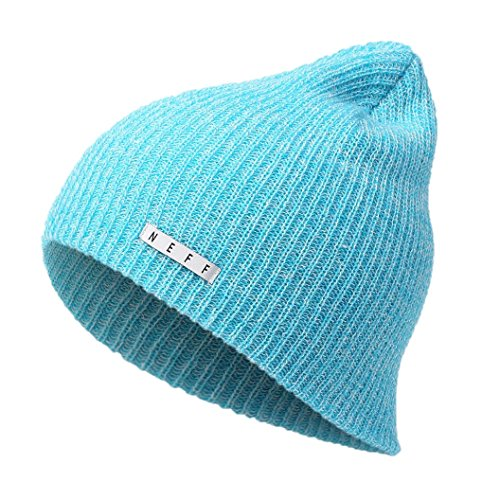 NEFF Adult's Heather Beanie Hat Cuffed Unisex Softest Comfortable, Cyan/White, One Size