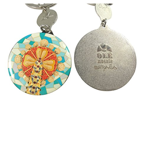 Barcelona Ole Mosaic Button Style Key Ring Key Chain Zipper Pull Cold Rolled Steel Porcelain Enamel Art and Swivel Clasp (Button Style Clip)