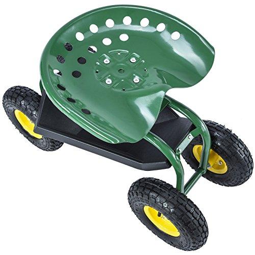 Kissemoji Green Rolling Garden Cart With 360 Degree Swivel