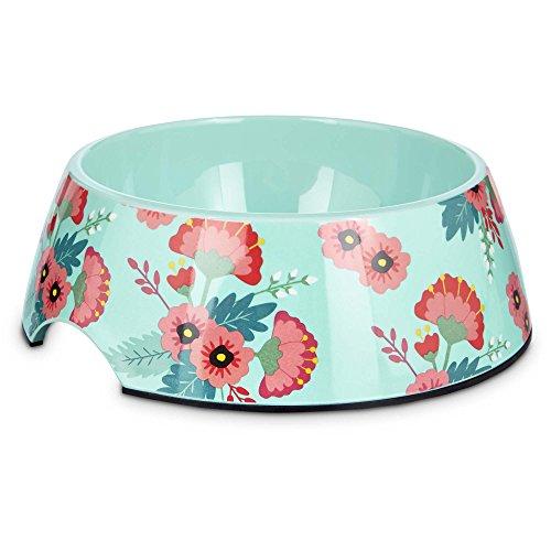 - Bowlmates Pink and Teal Floral Single Dog Bowl Base, 3 Cups, Medium