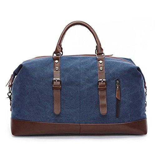 (CLJ Oversized Canvas Leather Trim Travel Tote Duffel shoulder handbag Weekend Overnight Bag (Dark Blue))