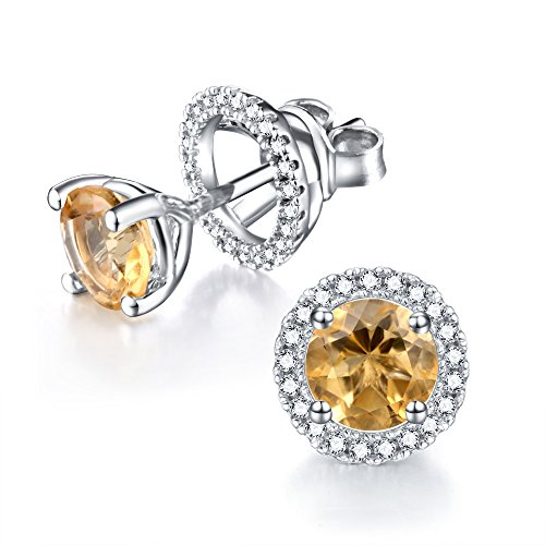 Natural Yellow Citrine Canary Removable Earring Jacket Studs for Women Girls