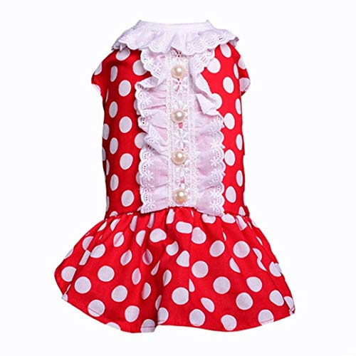 LVYING Cute Dots Dog Dress Cat Puppy Clothing for Pets Pearl Dresses Small Clothes Summer Apparel Pet Skirt -