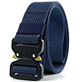 Fairwin Tactical Belt for Men, Military Style Rigger Belt with Heavy-Duty Quick-Release Buckle (Blue, M (Waist 36''-42''))