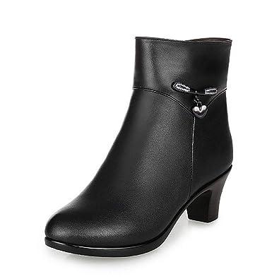 9c667abe1a9 Amazon.com | JOYBI Womens Mid Stacked Heel Ankle Boots Fashion ...