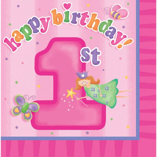 Creative Converting Fun at One Happy First Birthday Girl Luncheon Napkins, Girl, 16 Count