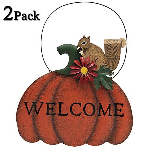 ATDAWN Metal Vintage Hanging Pumpkin Squirrel Welcome Sign Door Decor (2 PACK)