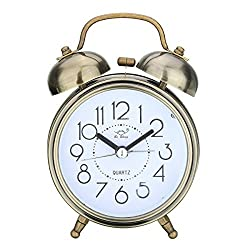 Jeteven Vintage Silent Alarm Clock Loud Twin Bell Mute Alarm Clock Quartz Analog Retro Bedside and Desk Clock with Nightlight ,Bronze