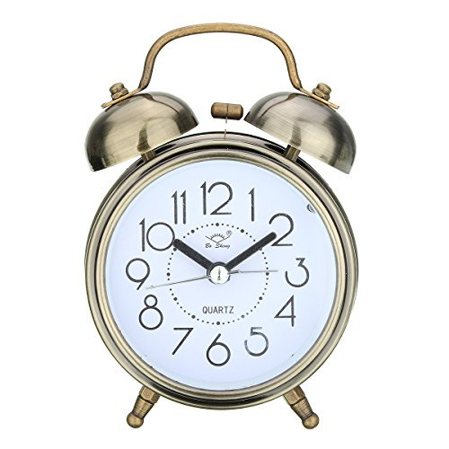 Jeteven Vintage Silent Alarm Clock Loud Twin Bell Mute Alarm Clock Quartz Analog Retro Bedside and Desk Clock with Nightlight ,Bronze (Vintage Wind Up Alarm Clock)