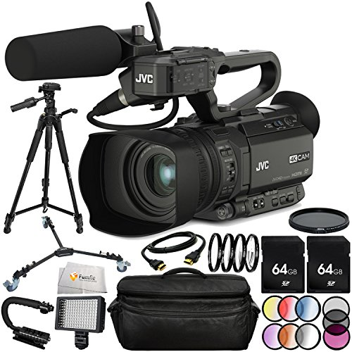 JVC GY-HM200HW House of Worship Streaming Camcorder Bundle Includes 2 64GB SD Memory Cards + Neutral Density Filter (ND2-ND400) + 72'' Tripod + Tripod Dolly + Professional 160 LED Light & More! by Fumfie