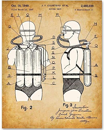 Scuba Diving Pictures - Jacques Cousteau Scuba Diving Tank - 11x14 Unframed Patent Print - Makes a Great Gift Under $15 for Scuba Divers