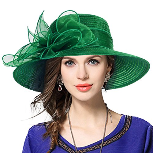 Kentucky Derby Church Dress Hat Wide Brim Leaf Flower Bridal Shower Hat (Deep Green)