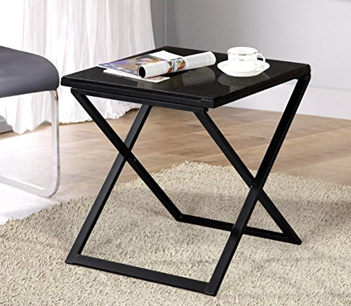 Olee Sleep Galaxy Granite Top Dura Metal Frame Coffee Table/ Tea Table / End Table/ Side Table/ Office Table/ Computer Table / Vanity Table/ Dining Table, Black - Black Granite Coffee Table