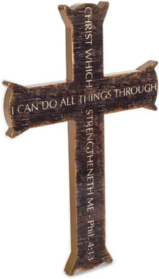 Spirit & Truth Iron Cross Christ My Strength Philippians 4:13 Dark Wood Wall Art Sign with Gloss Finish Distressed Wood Appearance 11.5 x 18 x 0.75