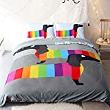 Sleepwish Colorful Dachshund Sausage Duvet Cover Set Cute Puppy Bedding Set Luxurious, Comfortable, Breathable, Soft & Extremely Durable 3Pcs (Twin)