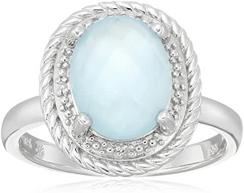 Sterling Silver Oval Rope White Mother-of-Pearl Over Baby Blue-Topaz Doublet and Diamond Accent Ring