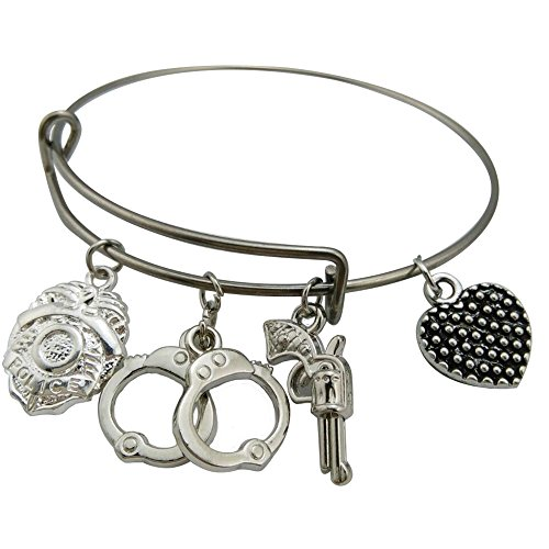 Stainless Steel Wire Bangle Police Badge Handcuffs & Gun Charm Bracelet Trendy Jewelry Gift for Women (Jewelry Police)