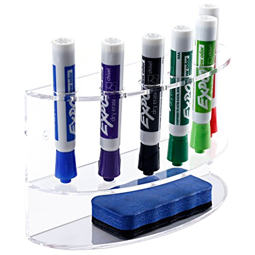 2-Tiered Wall Mounted Clear Acrylic Dry Erase Board Marker and Eraser Holder Tray Rack, 6 Slots