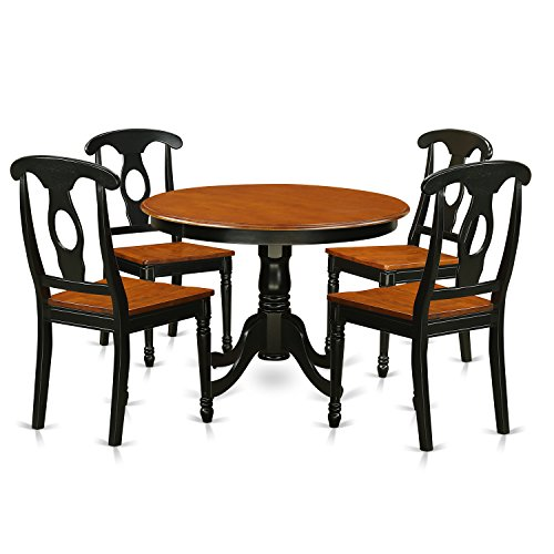 East West Furniture HLKE5-BCH-W 5Piece Hartland Set with One Round 36in Dinette Table & Four Kitchen Chairs with Wood Seat in a Spectacular Black & Cherry Finish