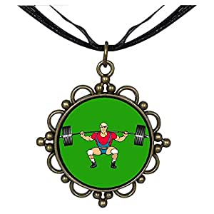 Chicforest Bronze Retro Style Olympics Weightlifting Round Flower Pendant