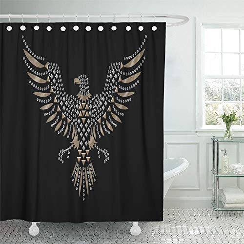 - Emvency Shower Curtain 72x72 Inch Home Postcard Decor Bird Studded Eagle for American Birds Cool Flying Graphic Silhouette Stone Shower Hook Set are Included