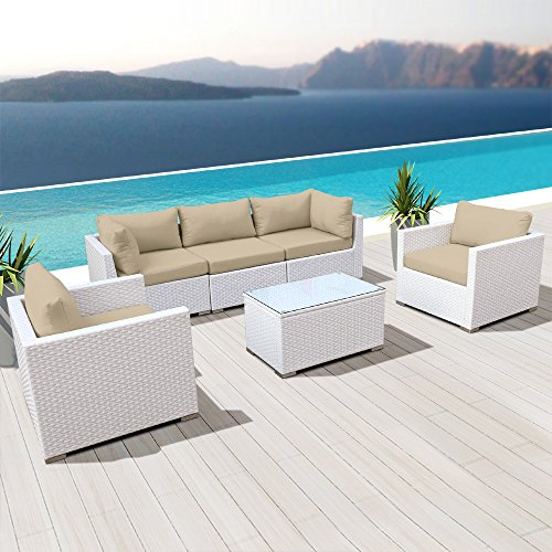Modenzi NEW V6-U Outdoor Sectional Patio Furniture White Wicker Sofa Set (Light Beige) (Sofa White Outdoor)