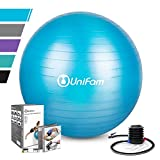 Exercise Stability Ball Chair with Hand Pump Use For CrossFit, Yoga, Balance & Core Strength Training, Non-Slip & Anti-Burst Extra Thick Fitness Ball(Blue&65CM)