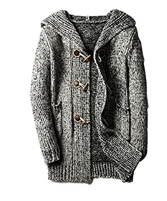Comfy Mens Plus Size Cardigan Hooded Buckle Sweater Winter