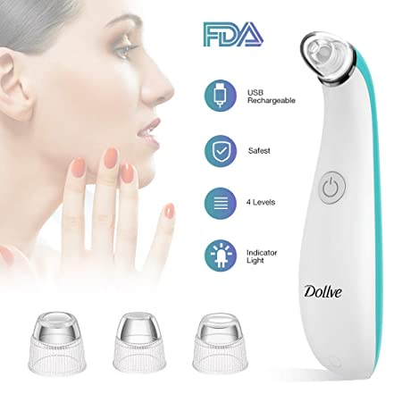 Blackhead Remover Electric Facial Pore Cleaner with 4 Changeable Functional Probes Rechargeable Vacuum Blackhead Suction Extractor Tool